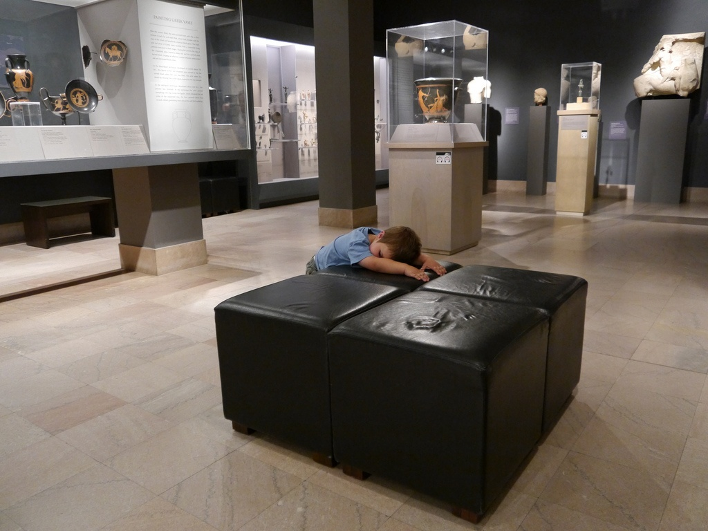 Anthony is bored of Greek art at the Museum of Fine Arts.