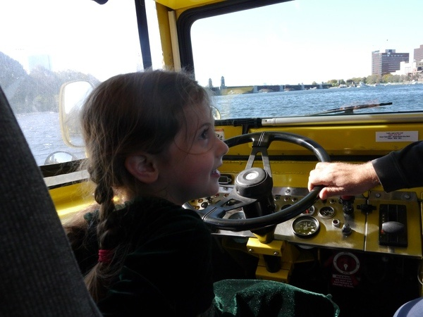 Sophie drives the duck.