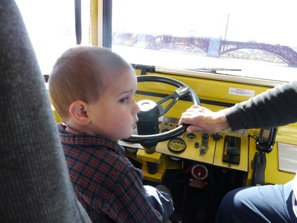 Anthony drives the duck.