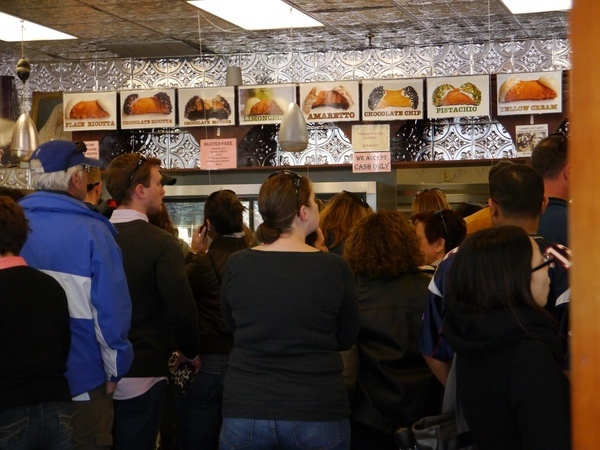The line at Mike's Pastries was predictably insane.