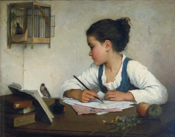 A Girl Writing: The Pet Goldfinch by Henriette Browne (1829-1901)