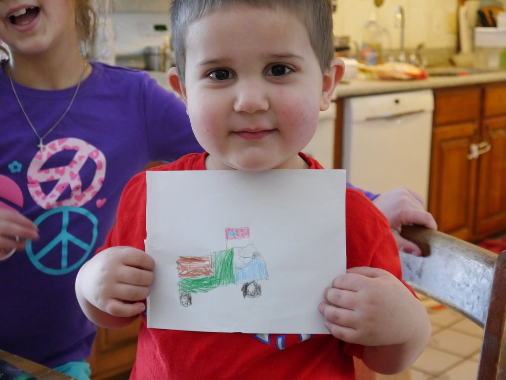 Bella drew this picture of a truck for Anthony.