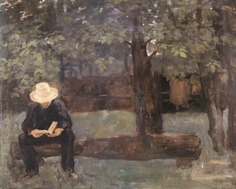 Man Sitting on a Log  by Karoly Ferenczy, 1895