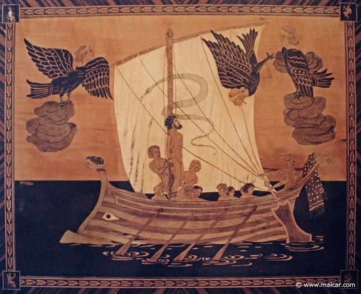Odysseus and the Sirens. Intarsia 19th century. Museo Correale di Terranova, Sorrento.
