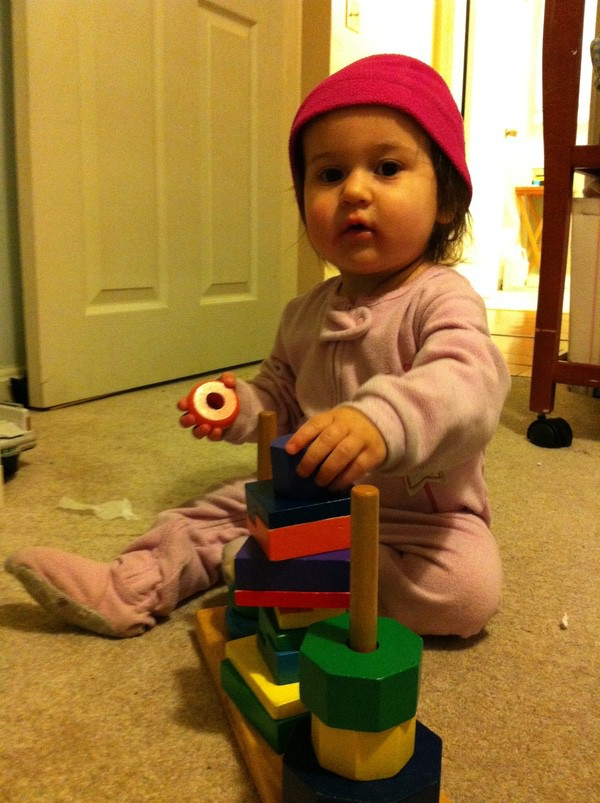 Lucia playing with the sorting blocks