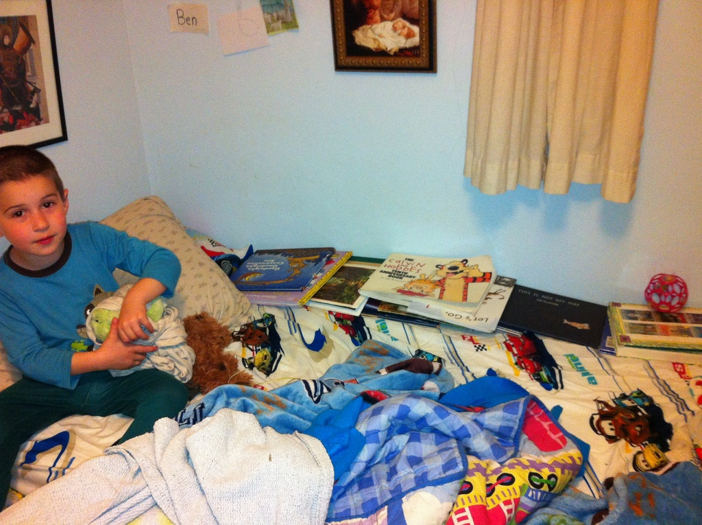 Ben's bed is a library
