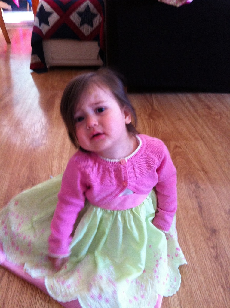 Cranky Lucy in her Easter dress