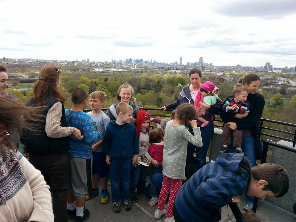 At the top of the tower, looking across the Charles River towards Boston from Mt Auburn Cemetery.