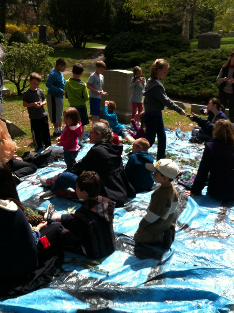 """The guide tried to make a big deal about having a tarp outside as our classroom for the day. For these homeschool kids, that's probably the norm. """"What's a classroom?"""""""