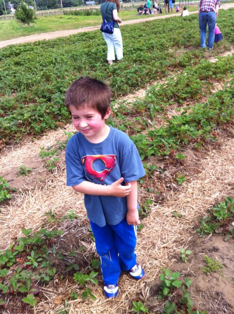 Ben at strawberry picking
