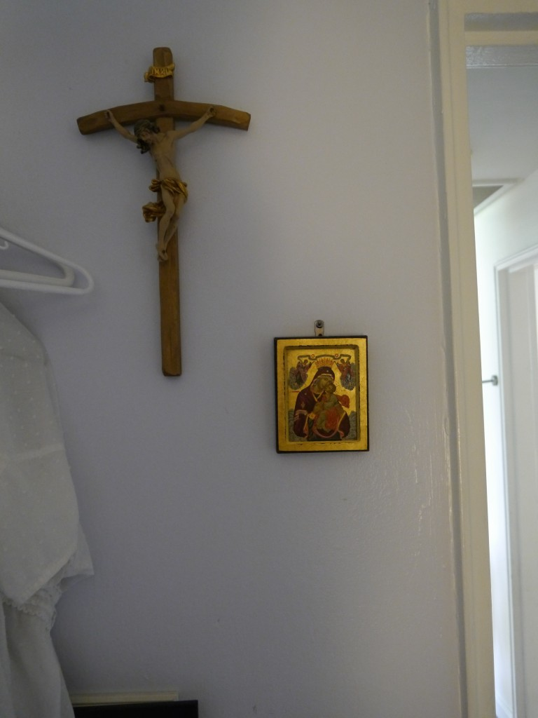 Crucifix and icon near the door in my bedroom.