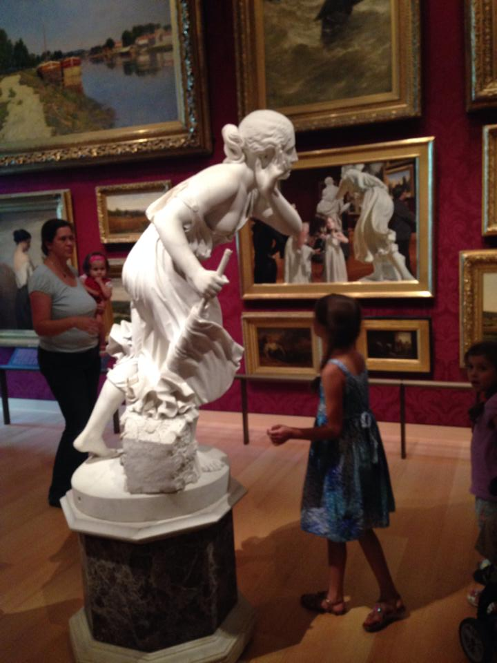 Bella is captivated. She remembers this statue and painting pair from two years ago.