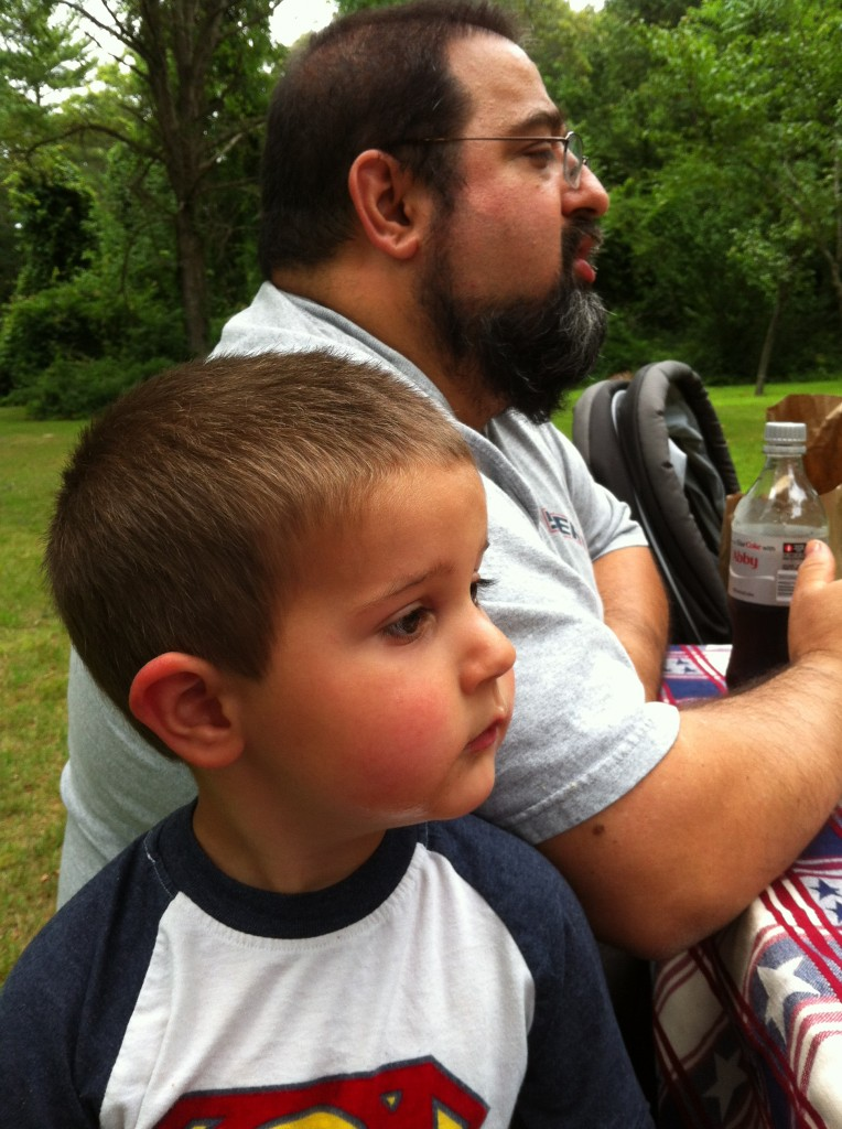 Picnic at Wampatuck State Park: like father like son