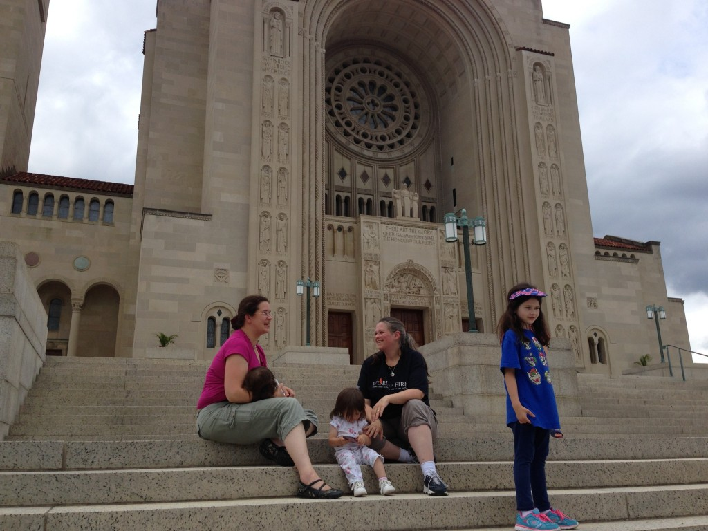 nursing on steps of national shrine