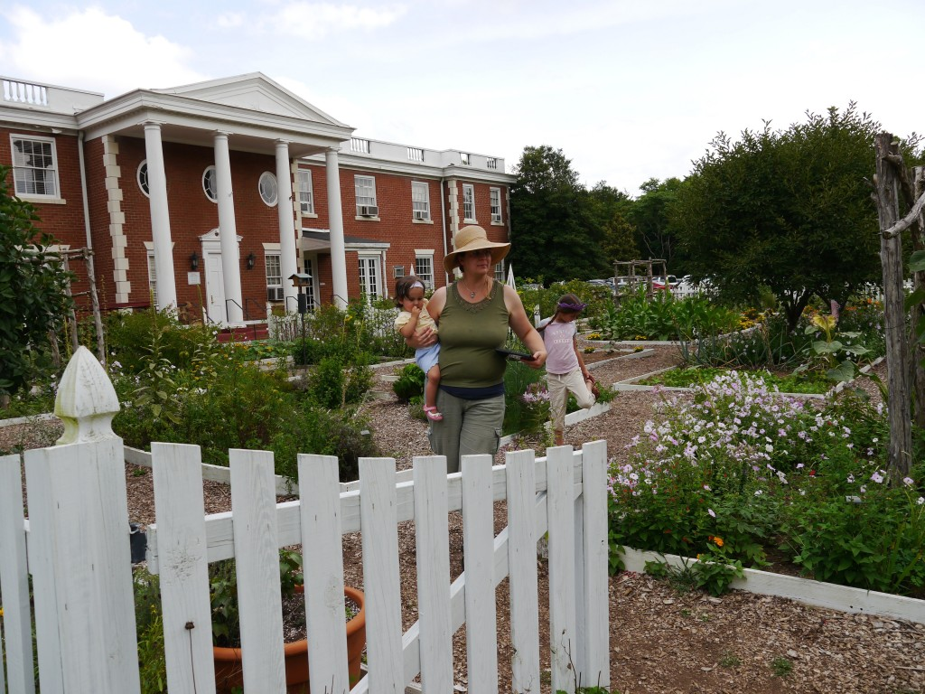 Walking in the garden of Ferry Farm, George Washington's boyhood home.