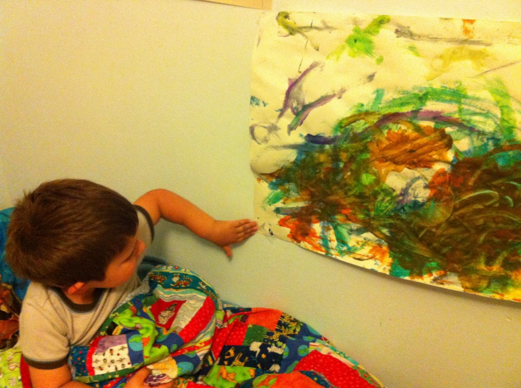 Anthony with his painting.