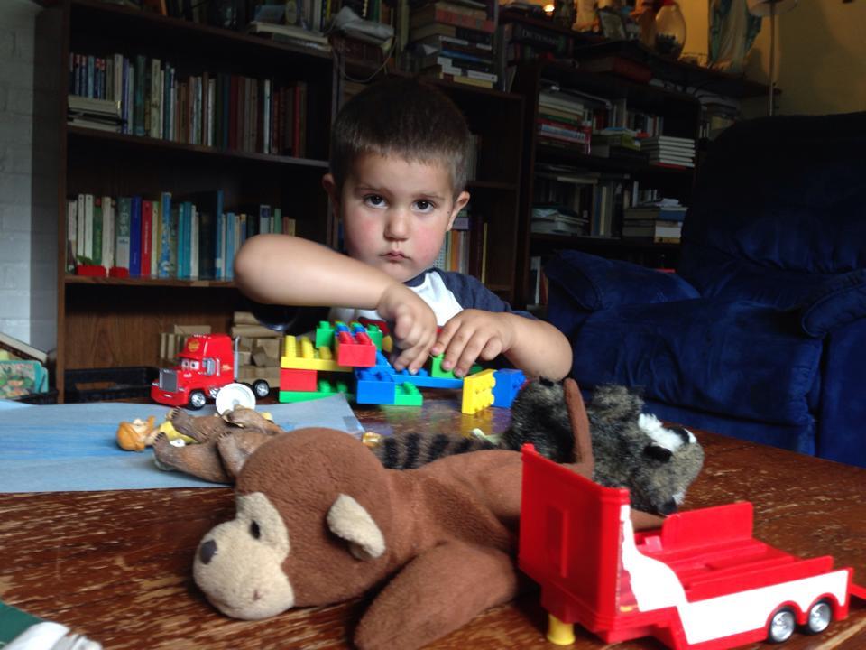 Anthony with Legos