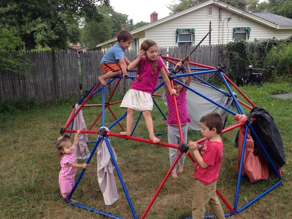 Kids on dome