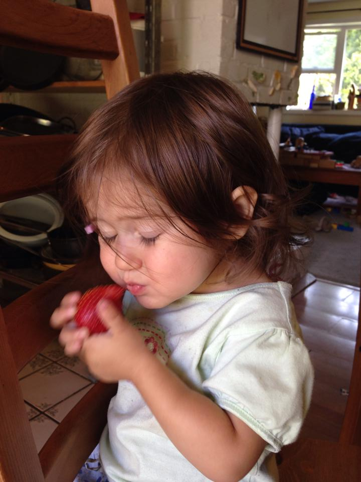 Lucy with strawberry