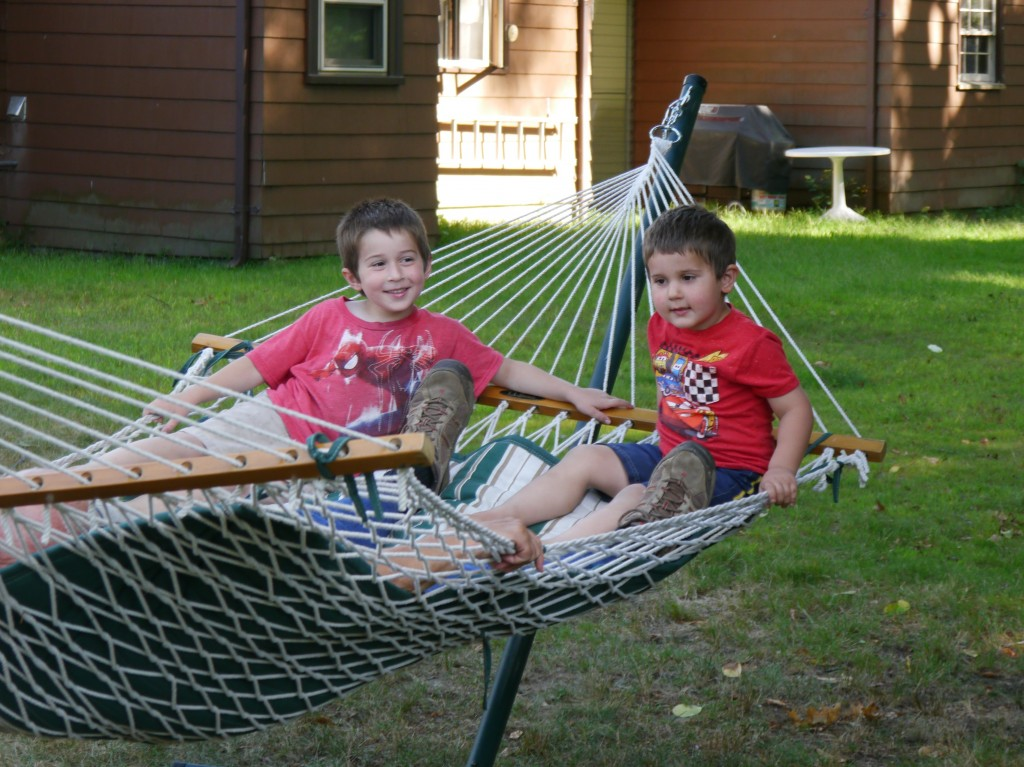 Ben and Anthony in the hammock with Grandad