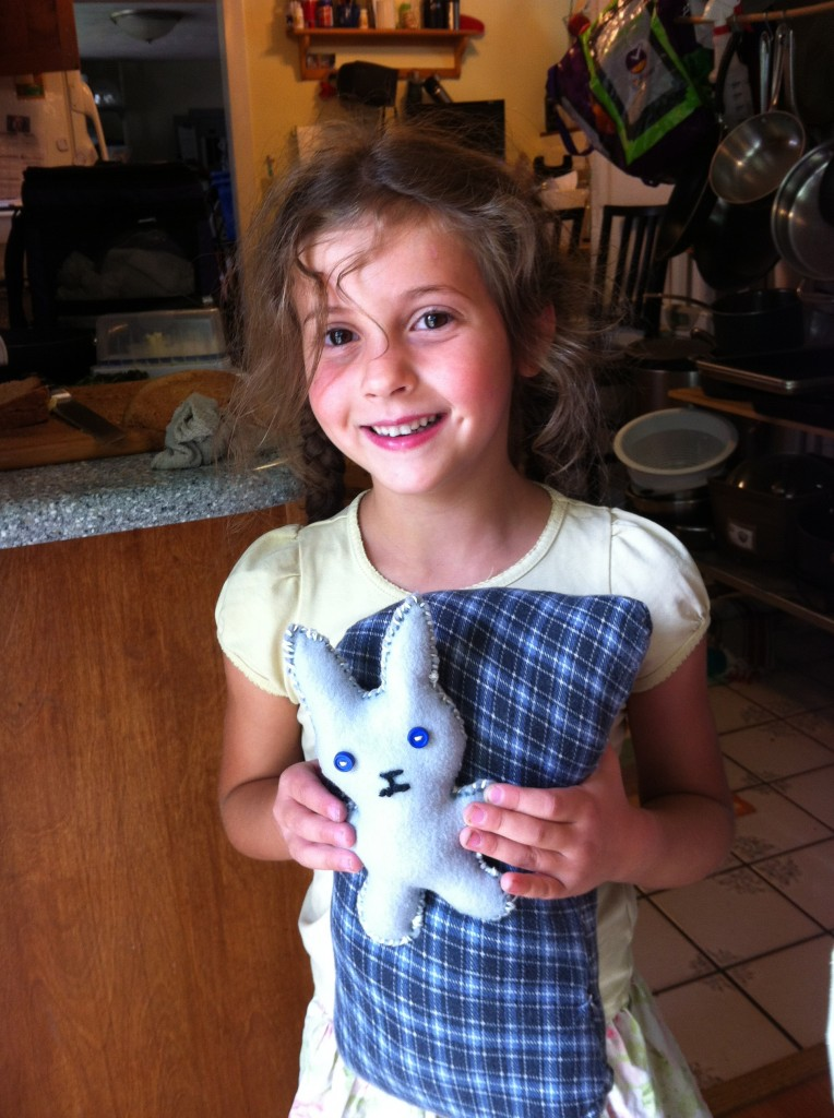 Sophie's sewing projects: pillow and bunny.