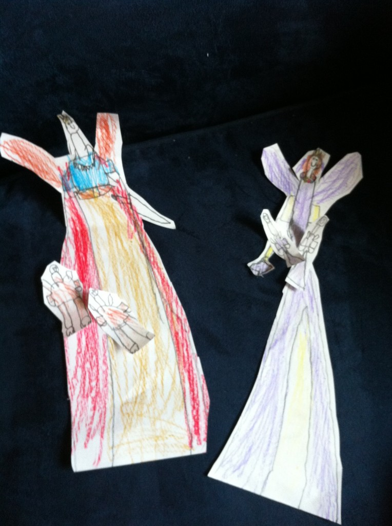 Sophie made Oberon and Titania paper dolls. With plenty of attendant fairies.