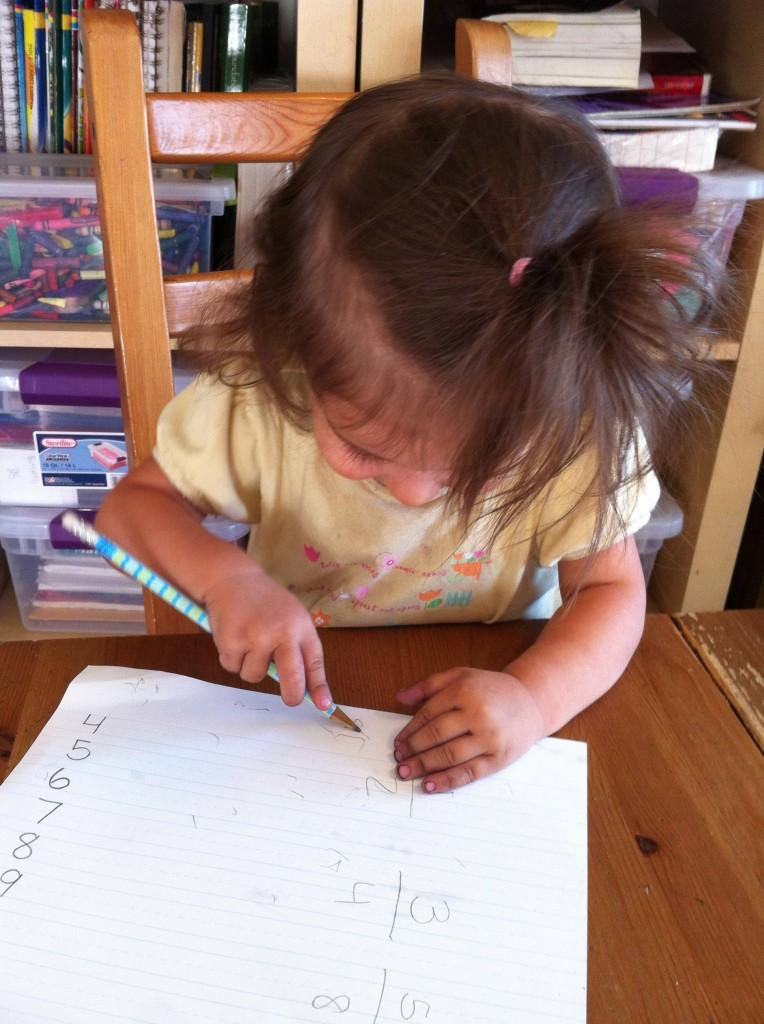 "Lucy drawing. ""I draw aysch, Mama."""