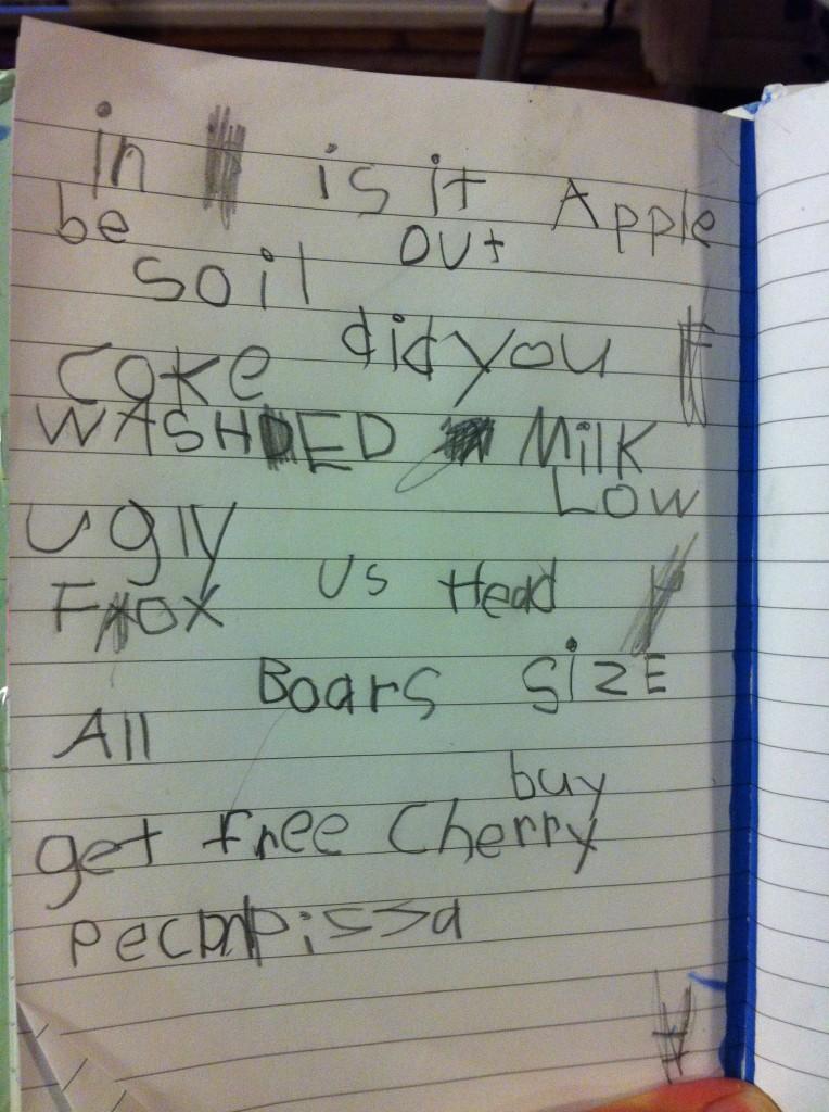 Bella's grocery store word list.