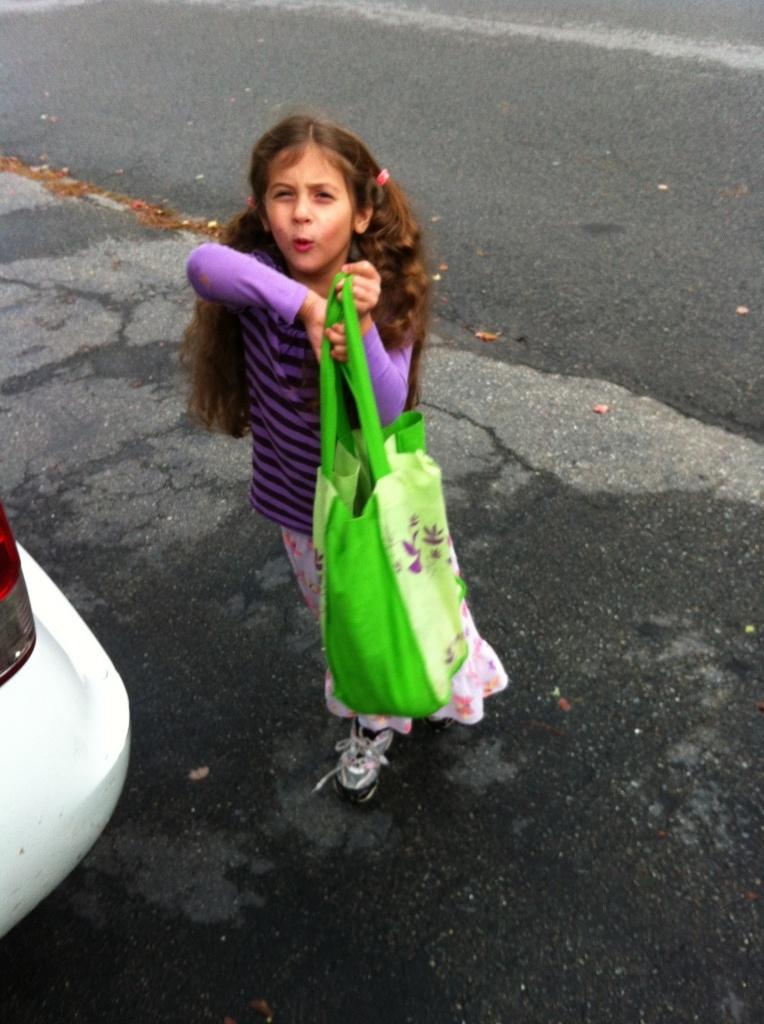 Sophie brings in the groceries