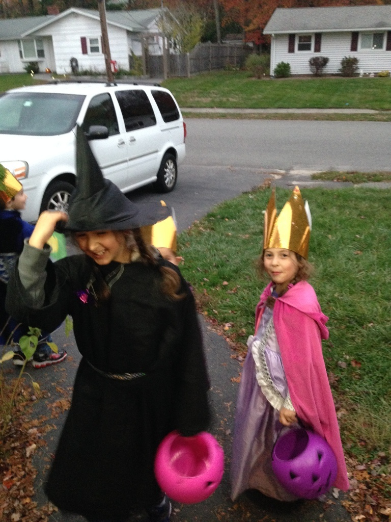 The bold trick or treaters depart