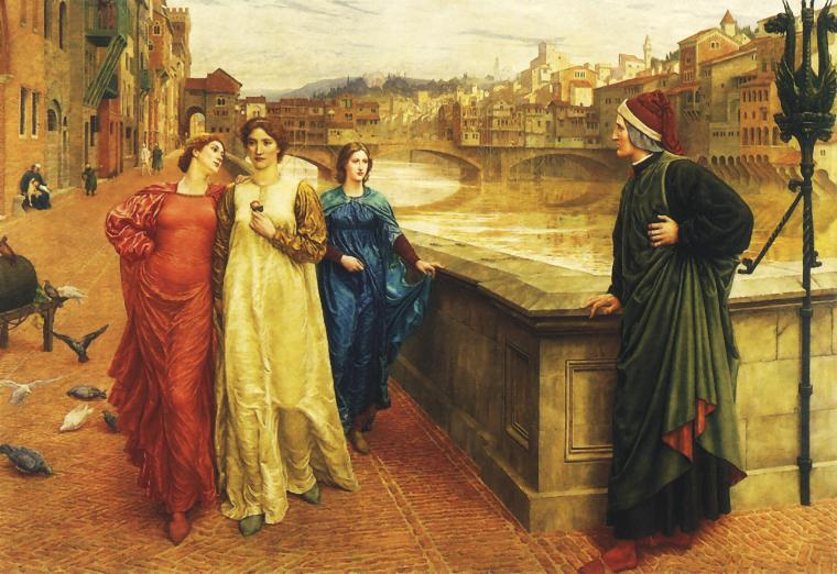 """Dante and beatrice"" by Henry Holiday - Unknown. Licensed under Public domain via Wikimedia Commons."