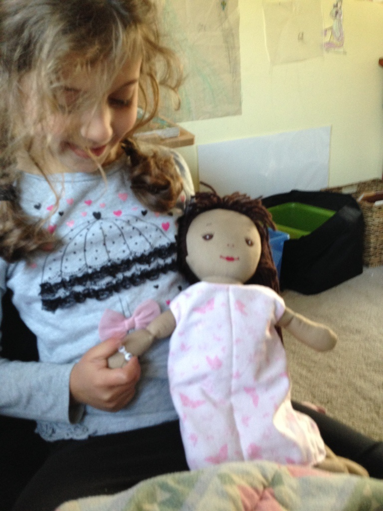 Sophie's doll has a new dress