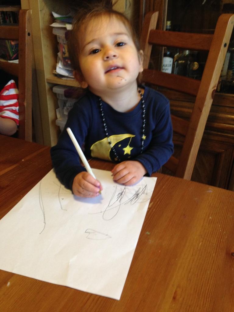 Lucy draws.