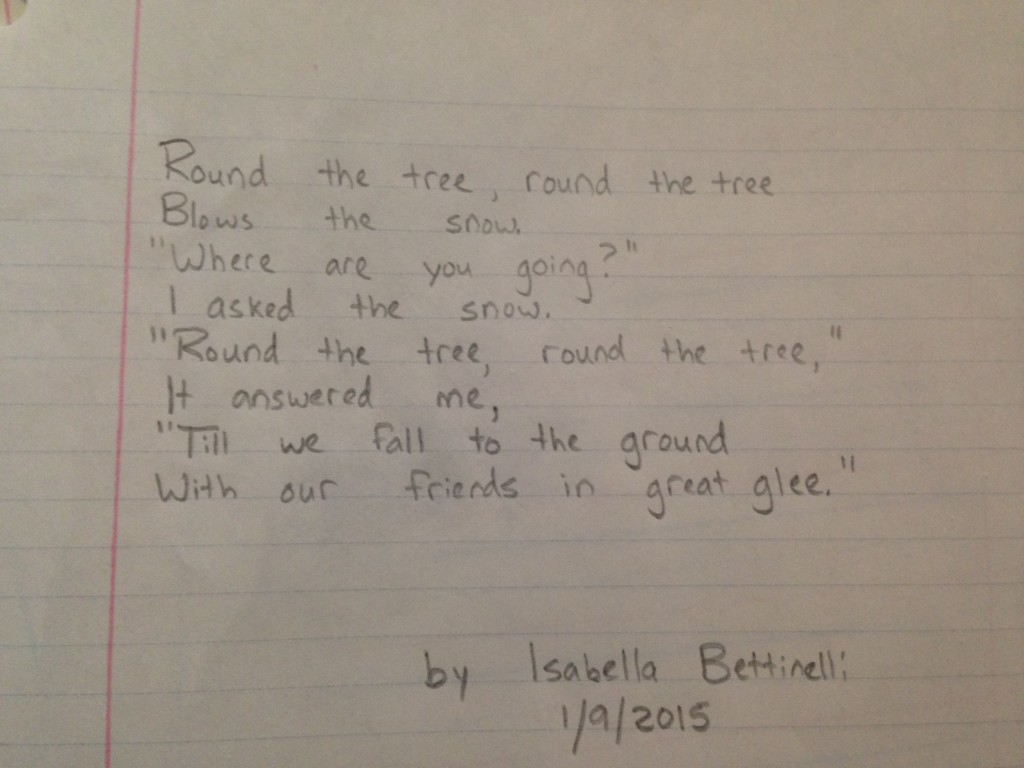 Bella's snow poem