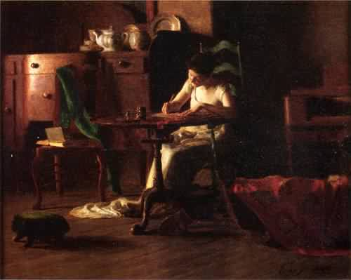Woman Writing at a Table by Thomas P. Anschutz.  When I first glanced at this image I thought she had a cradle at her foot. I wish she did, that would make this image perfect for this post. That's how I see myself as a blogger, writing with the baby at my feet. (Or at the breast.)