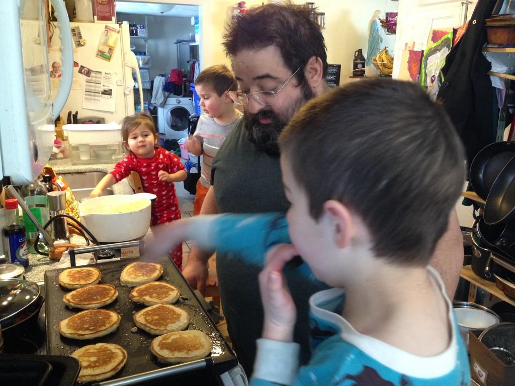 Dom teaches Ben to make pancakes