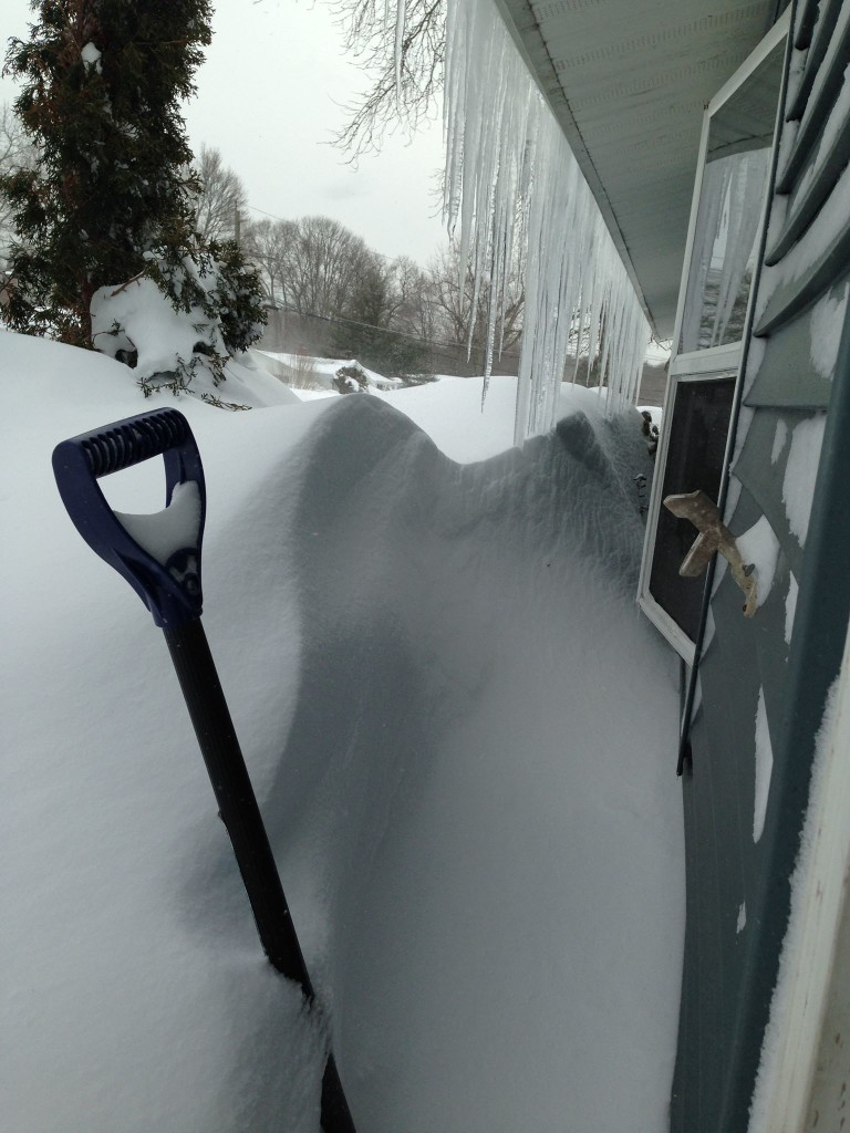 The front of the house. The drifts are more than shoulder high in places.