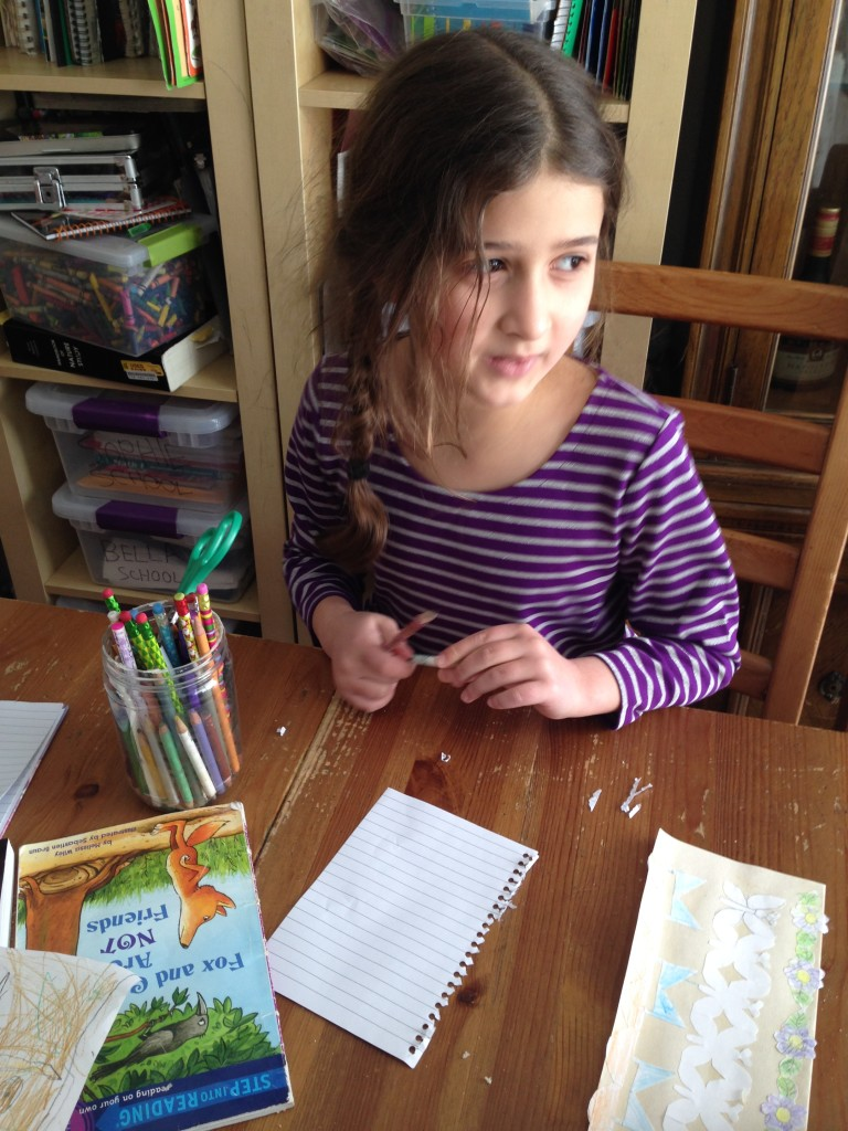 Bella sits down to write a letter immediately. (But we still haven't sent it.)