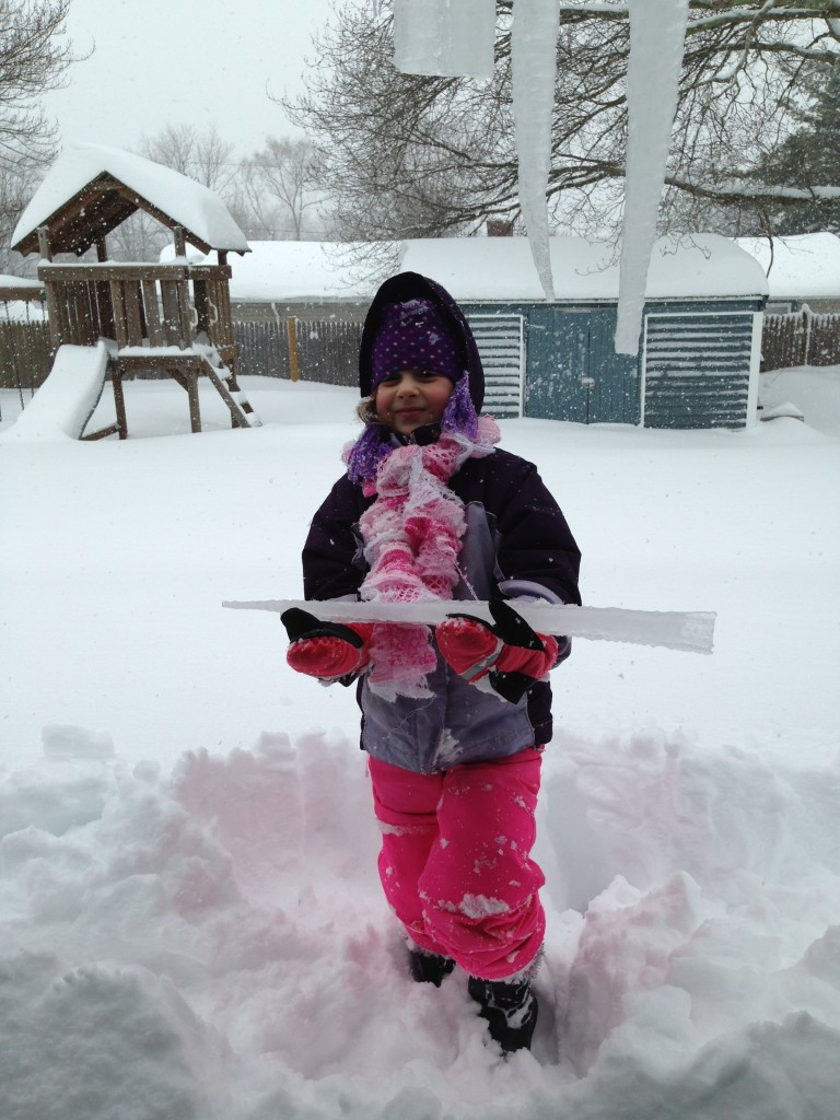 Triumphant Sophie with icicle.