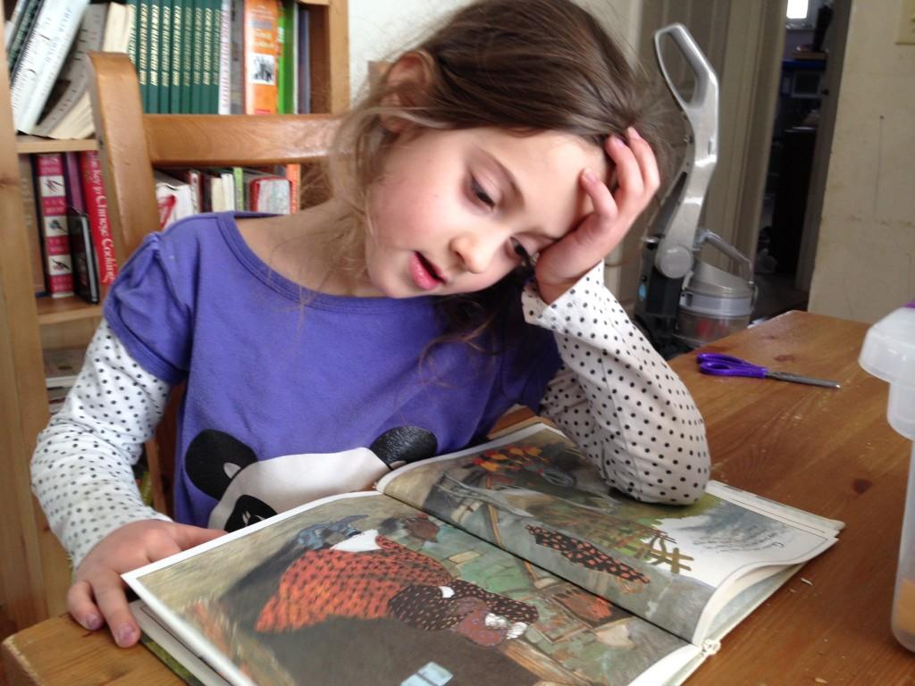 Sophie reads Thunder Cake.