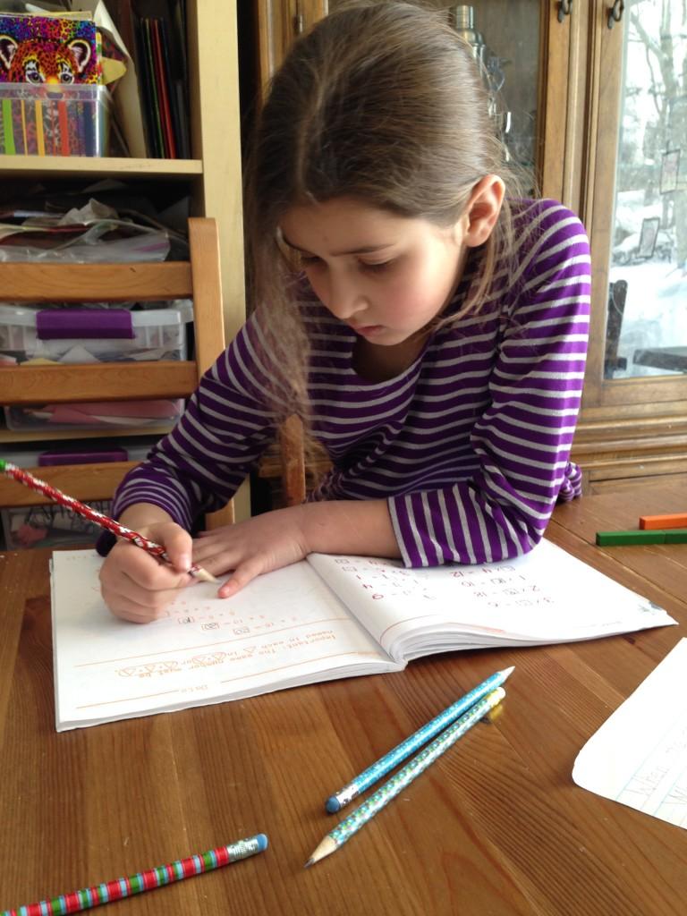 Bella writing.