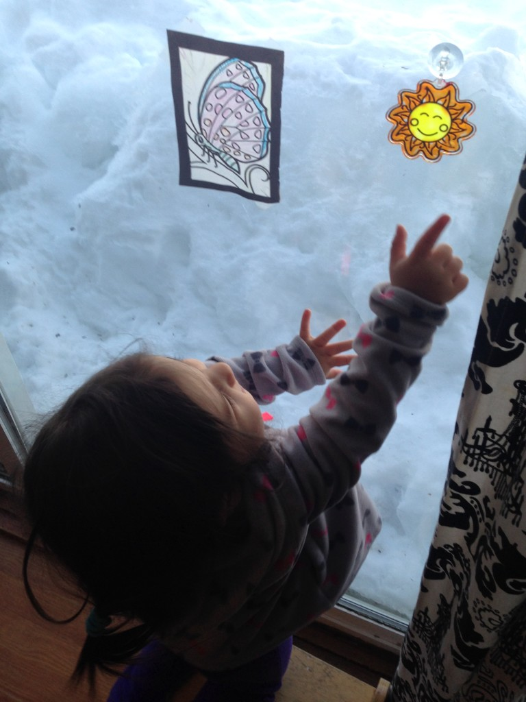 Lucy admires the sun catcher that Sophie painted and hung on the window. Dreaming of sunshine and warm days.
