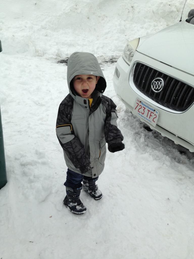 Happy Anthony in the snow