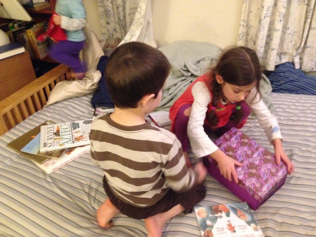Sophie and Ben look at the art cards