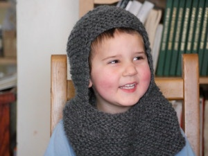 Smiling Anthony the knight, knitted chain mail coif from GeekLady!