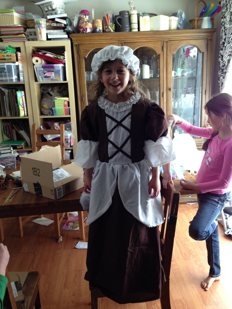 Grandma Pat sent a Colonial dress and hat