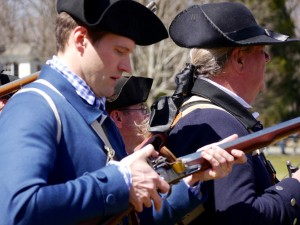 Close up of militiaman with musket at Lexington Green.