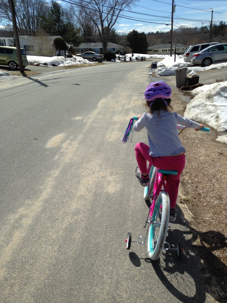 Sophie's first solo ride on the new bike