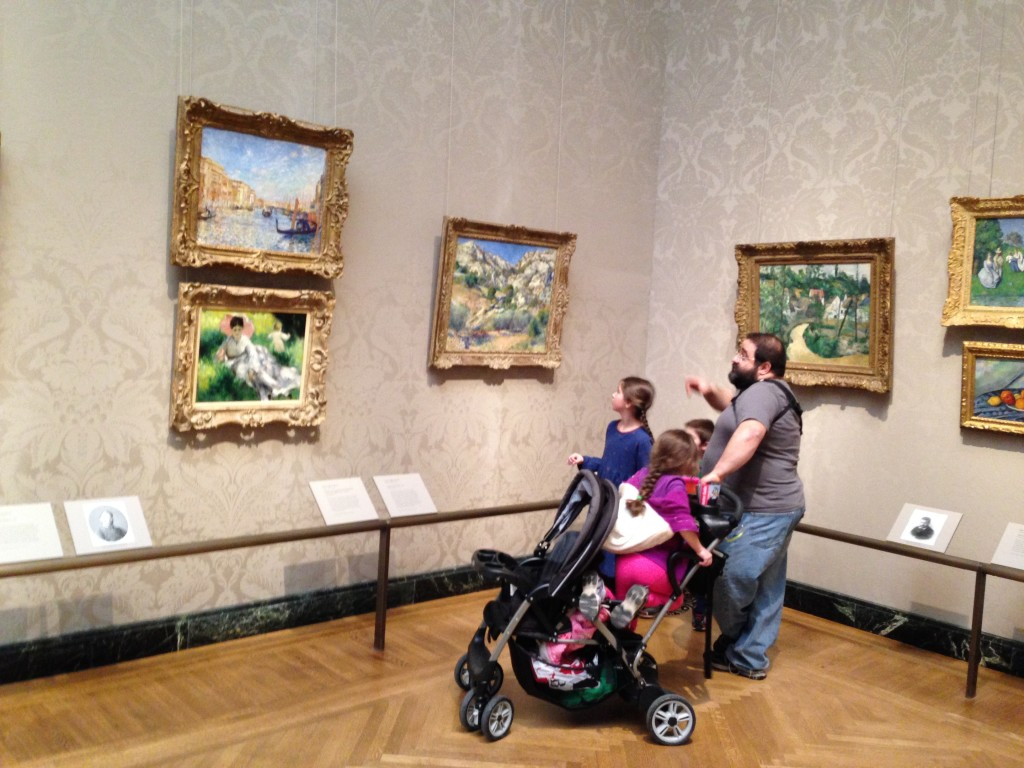 Dom and the kids admire Impressionists