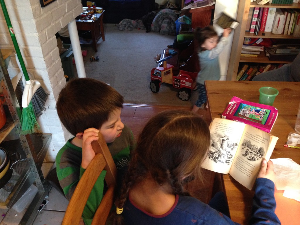 Bella reads while Ben watches